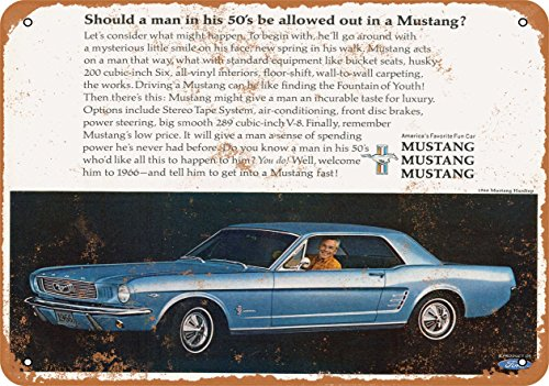 (Wall-Color 7 x 10 Metal Sign - 1966 Ford Mustang Hardtop - Vintage Look)