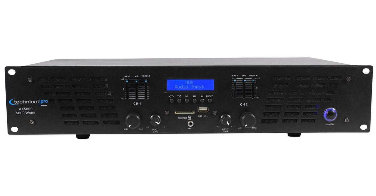 Technical Pro AX AMPLIFIER SERIES AX5000 5000 watts of peak power 2U Professional 2 Channel Power Amplifier, Black