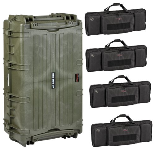 Explorer Cases 10840 Gun Case with Four Padded Gun Bags, Olive Green, Large