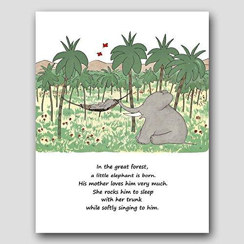 Boys Nursery Wall Decor (Babar the Elephant Print, Baby Poem Art)