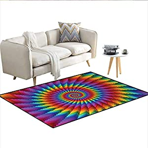 Floor Mat,Psychedelic Rainbow Spiral in Vibrant Colors Circular Rainbow of Optical Illusion,3D Printing Area Rug,MulticolorSize:48″x60″