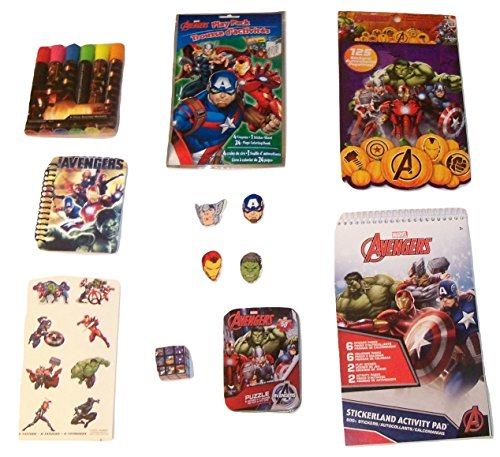 Marvel Avengers Activity Gift Set ~ Stand for Freedom (Stickerland Activity Pad, Play Pack, Shaped Sticker Book, Journal, Erasers, Tattoos, Puzzle Cube, Puzzle in a Tin, Markers; 9 Items, 1 Bundle)
