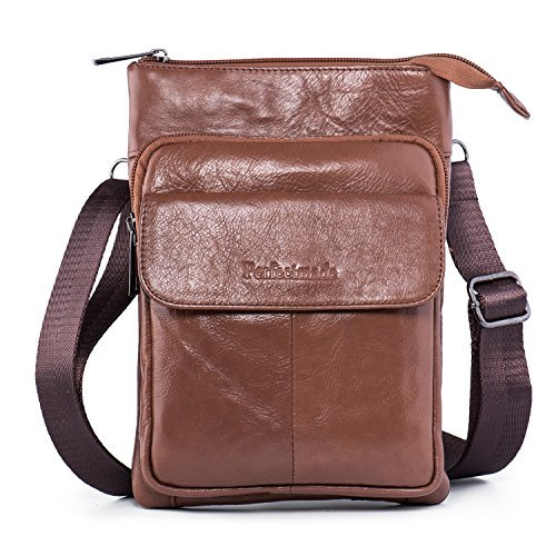 Men Leather Cross body Messenger Bag, Shoulder Purse Travel Bag Everyday Satchel Bag