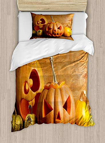 Ambesonne Autumn Pumpkin Duvet Cover Set Twin Size, Halloween Jack o Lantern Carved Fruits Photo, Decorative 2 Piece Bedding Set with 1 Pillow Sham, Dark Orange Persian Orange Fawn Mustard]()