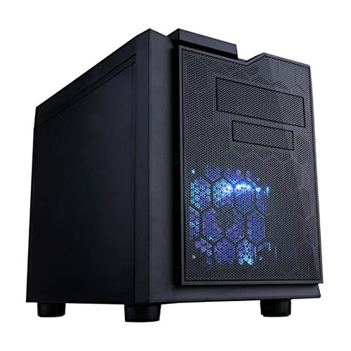 APEVIA X-QPACK3-NW-BK Micro ATX Cube Gaming/HTPC Case, Supports Video Card up to 320mm/ATX PS, USB3.0/USB2.0/HD Audio Ports, 1 x 140mm blue LED fan, Flip Open Design, Dust Filter–Black