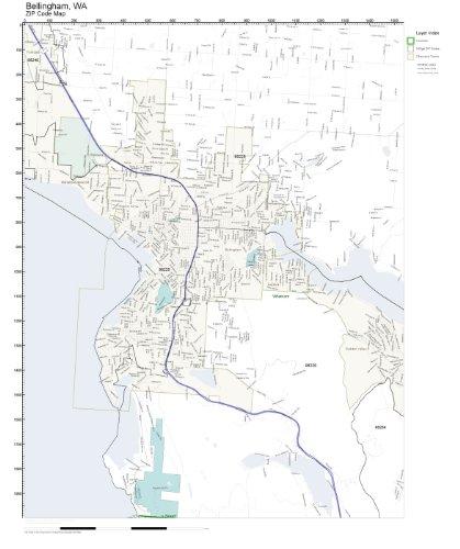 ZIP Code Wall Map of Bellingham, WA ZIP Code Map Not Laminated (Of Map Wa Bellingham)