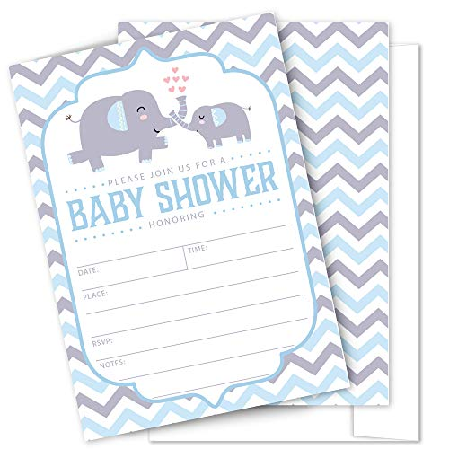Elephant Themed Baby Shower Invitations (Elephant Baby Shower Invitations - 25 High Quality Elephant Theme Invitations with Envelopes for Boy Girl Baby Shower by)