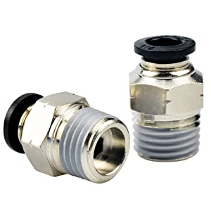 Tailonz Pneumatic Male Straight 3/8 Inch Tube OD x 1/4 Inch NPT Thread Push to Connect Fittings PC-3/8-N2 (Pack of 10)