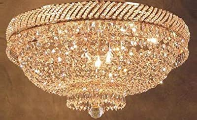 "French Empire Crystal Flush Chandelier Lighting H 18"" W 23"""