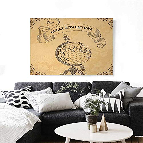 Globe Adventure Dora - homehot Inspirational The Picture for Home Decoration Retro Globe Earth World with Great Adventure Quote Boho Style Graphic Customizable Wall Stickers 28