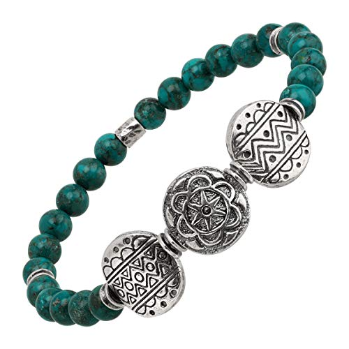 (Silpada 'Rio Alto' Compressed Turquoise Beaded Bracelet in Sterling Silver)