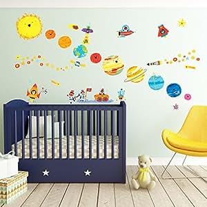 Decowall dw 1707 planeta espacio el universo vinilo for Pegatinas decorativas infantiles