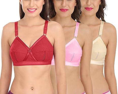 2b1e2cb3e2 Sona Women s Perfecto Full Coverage Non-Padded Plus Size Cotton Bra Multi  Color Size 30B