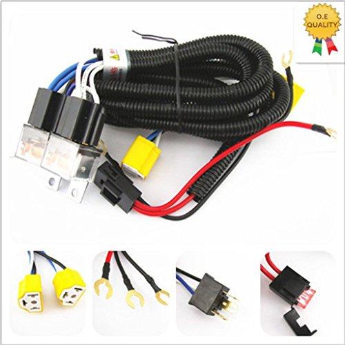 [ALL STAR TRUCK PARTS] 2-Headlight H4 Headlamp Light Bulb Ceramic Socket Plugs Relay Wiring Harness ()