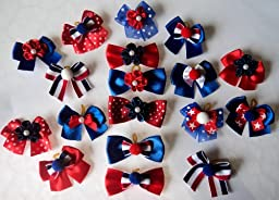 Pack of 100 Patriotic 4th of July Dog Grooming Bow Collection 1.5 inch size with Poms/Stars/Roses - Super Value Pack for groomers or PET shops