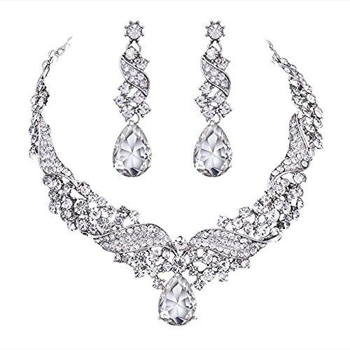 Wedding Bridal Teardrop Crystal Jewelry Sets for Women (1 Set Earrings,1 PCS Necklace)