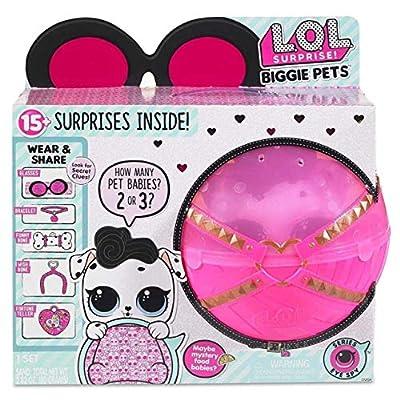 LOL Surprise Biggie Pet Bundle Includes (1) Dollmation + (1) Limited Edition Glitter Glam + Bonus Action Media Storage Bag!