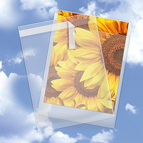9 x 12 Inch Crystal Clear Plastic Cello Bags (200 Pack) - Resealable Cellophane Sleeve w/Self Adhesive Flap - Storage for Greeting Cards, Photos, Letters - USPS Mailer (1.6 Mil Thick) CELLO09X12CL200