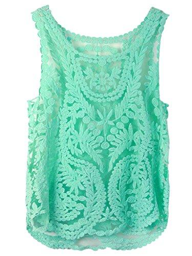 Persun Floral Sleeveless Crochet Blouse