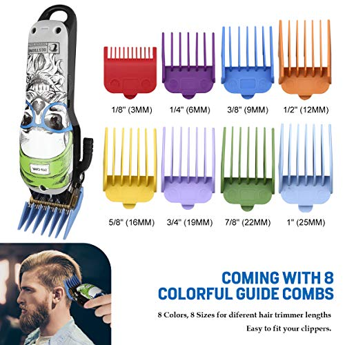 BESTBOMG 8 Professional Hair Clipper Guide Combs, 45.5mm x 38.5mm Replacement Guards Set, 8 Lengths Attachment Guide Combs for Many Clippers/Trimmers