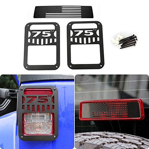 JeCar Steel Black Tail Light Cover Guard with Third Brake Light Cover for Jeep Wrangler 2007-2018 (75th Anniversary)