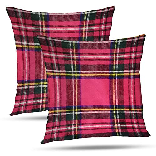 Batmerry Checkered Pillow Covers 18x18 Inch Set of 2, Royal Stewart Tartan Classic Red Scottish Plaid Print Double Sided Decorative Pillows Cases Throw Pillows Covers (Classic Print Pillow Pack)