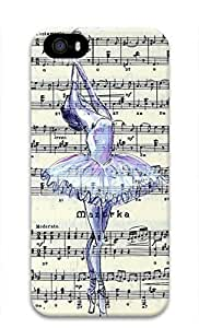 3D Hard Plastic Case for iPhone 5 5S 5G,Ballet on Sheet Music Case Back Cover for iPhone 5 5S