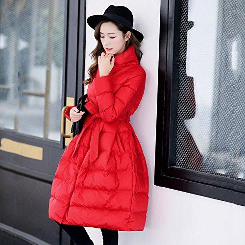 L Red Long Color DYF Loose Jacket Coat Pendulum Collar Down Belt Solid sleeve C4wq6B