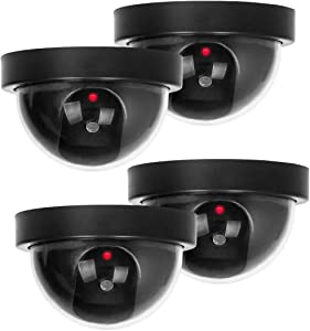 Dummy Security Camera, BNT Fake Security Camera System with One Flashing Red LED Ligh, for Home and Businesses Indoor Outdoor