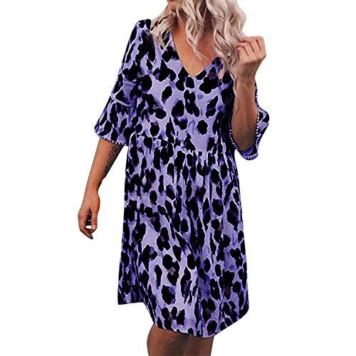 Dress Women Plus Size V Neck Leopard Maxi Knee Length A Line Summer Dress Purple