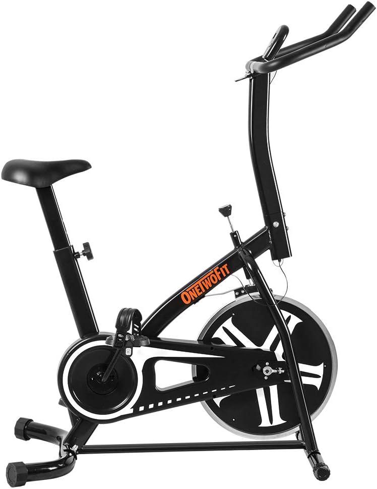 OneTwoFit Bicicleta estática, Bicicleta Estática para Entrenamiento para Interiores con Altura Ajustable y Monitor LED para Ejercicio Cardiovascular, Peso Máximo del Usuario 265 lbs OT077: Amazon.es: Deportes y aire libre