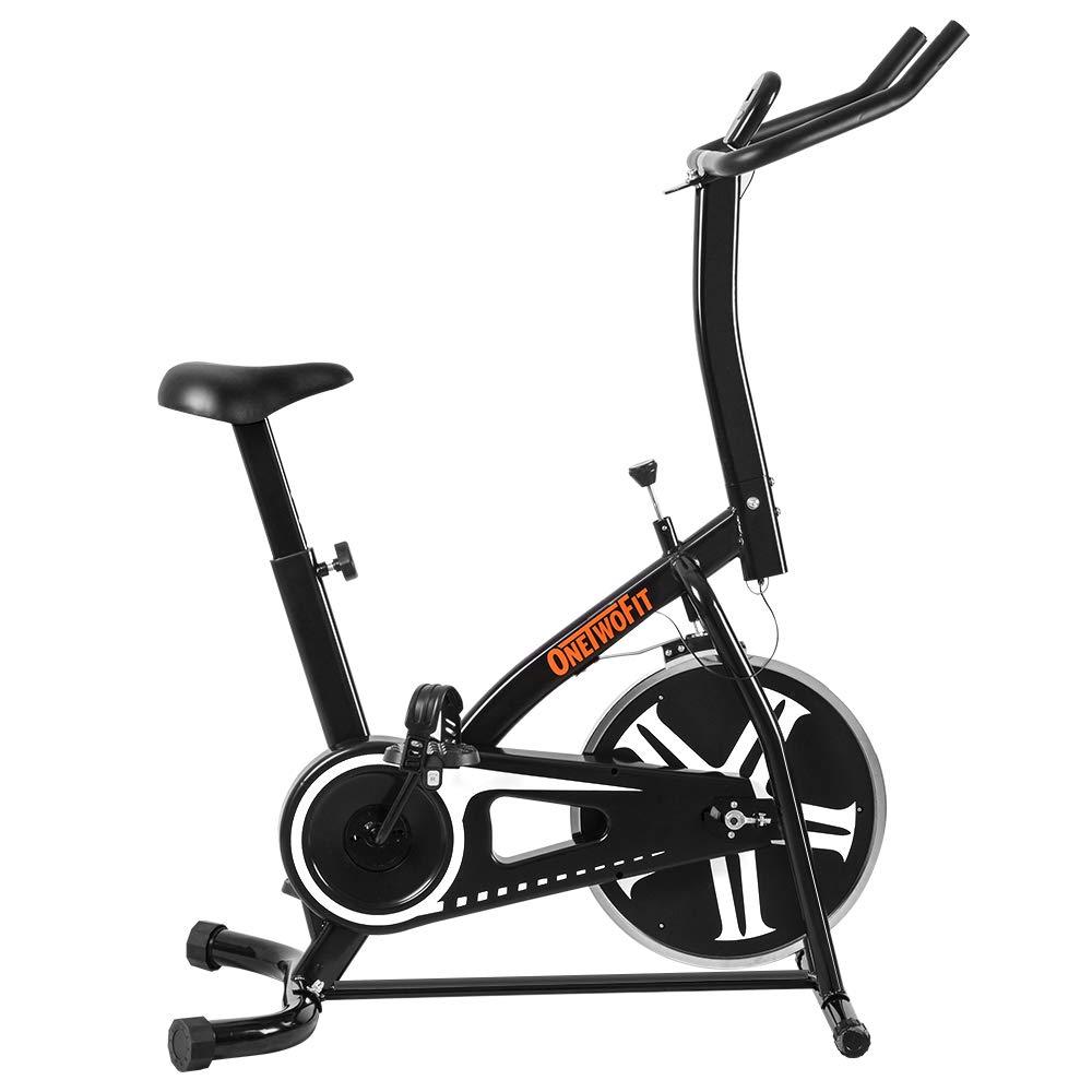 OneTwoFit Heimtrainer, Indoor Ketteantrieb Stationäres Training Fahrradfahren Spin Bike mit Höhenverstellung und LED-Anzeige für Heim-Kardiotraining, Max. Benutzergewicht  120 kg   265 lbs OT077