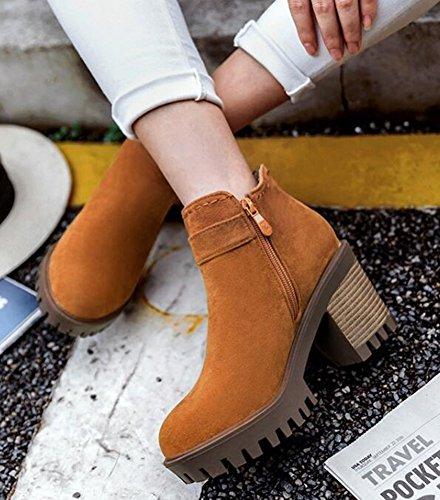 Short Yellow Suede Side Women's With Platform Chunky Faux Zipper IDIFU Boots Fashion High Ankle Buckle Heels gxTw0gqFzZ