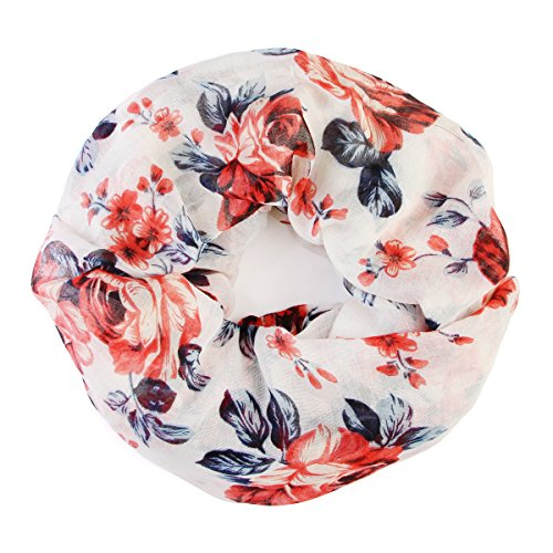 Bohemian Lightweight Floral Print Scarf - Infinity Circle Loop, Oblong Shawl Wrap Cover, Tree of Life, Bird Feather Scarves (Infinity Roses - White -