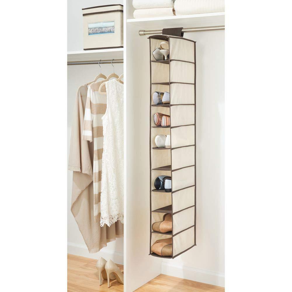 MetroDecor mDesign Organizador de Zapatos para Armario - Muebles zapateros para Colgar con 10 Compartimentos - Estanterías para Zapatos, Bolsos o Carteras ...