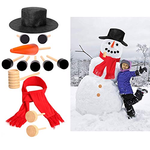 NEWBEA Set of 13 Snowman Kit Winter Christmas Outdoor Snowman Decorations Kit for Kids,Includes Hat, Scarf, Pipe, Eyes, Carrot Nose & Buttons -