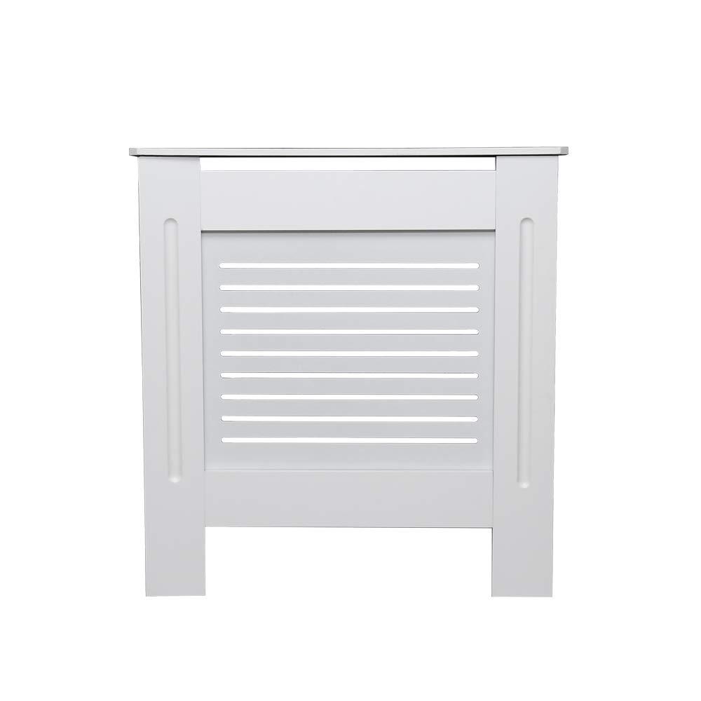 Vingo Radiator Cover White Modern Painted MDF Cabinet Cross Bars Small Size 78cm x 19cm x 81.5cm