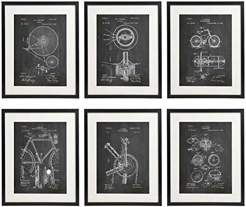 IDIOPIX Bicycle Bike 01 Patent Wall Decor Chalkboard Art Print Set of 6 Prints UNFRAMED