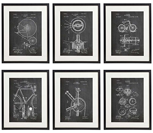 IDIOPIX Bicycle Bike 01 Patent Wall Decor Chalkboard Art Print Set of 6 Prints UNFRAMED