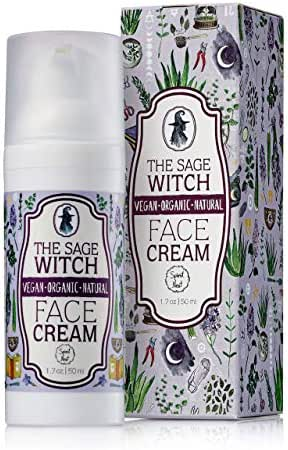 Natural Organic Anti-Aging Face Cream Moisturizer, Vegan Non-Greasy Formula With Green Tea - The Sage Witch By Spirit Nest