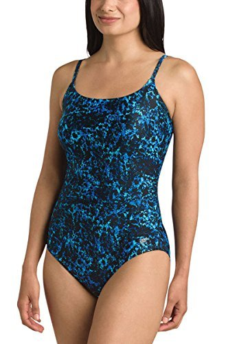 Speedo Women's Ultraback Racerback Athletic Training One Piece Swimsuit (Blue Texture, 8)