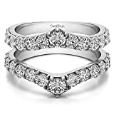 Delicate Graduated Contour Ring Guard with 0.74 carats of Diamonds (G-H,I2-I3) in Sterling Silver