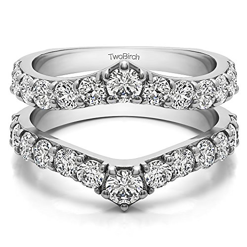 TwoBirch 0.26 ct. Charles Colvard Created Moissanite Delicate Graduated Contour Ring Guard in Sterling Silver (1/4 ct. twt.)