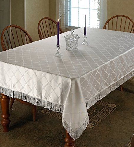 Violet Linen Diamond Damask Design Fringes Oblong/Rectangle Tablecloth, 60