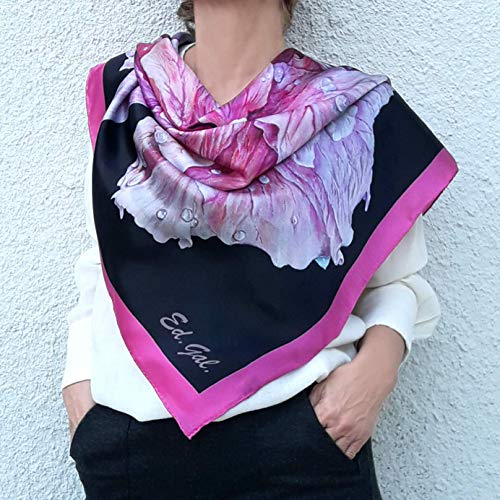 59653ec90e48 Amazon.com  Large Square Silk Scarf Artisic Hand Painted and Printed Shawl  Black Pink Rose Floral Designer Wrap Mother Birthday Women Gift  Handmade