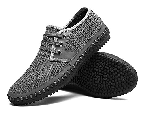 MOHEM Mens Poseidon Mesh Walking Shoes Casual Water Shoes Gray66-1 V0iuj