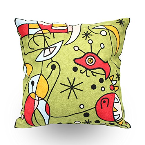 Price comparison product image Hodeco Throw Pillow Covers 18x18 Inches Embroidery Pillow Cover 100% Cotton Throw Pillow Cover, Abstract Alien Design, Green, 1 Piece