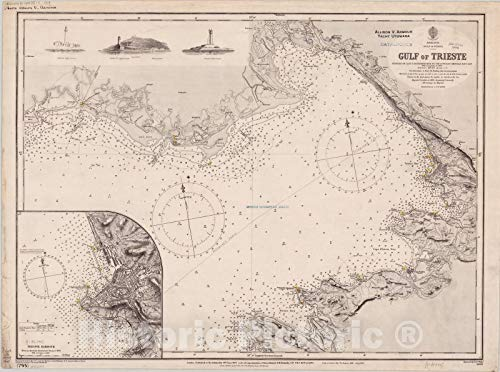 Historic Pictoric Map : Trieste, Gulf of, Italy 1900, Adriatic, Gulf of Venice, Gulf of Trieste, Antique Vintage Reproduction : 44in x 33in (Venice Of Map Antique)