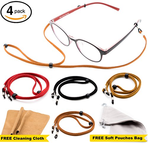 Eyeglass Strap Chain [Pack of 4 + Bonuses] - Eyeglass Holder - Glasses Lanyard- Eyeglasses Holder Cord - Eyeglass Strap Retainer