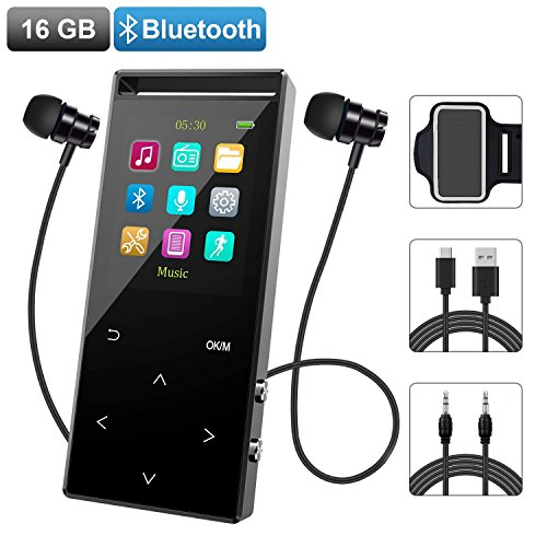 MP3 Music Player with Bluetooth, 16GB Portable Digital Music Player Built-in FM Radio/Voice Recorder/Text Reading/Pedometer,with Armband for Sport Running (Support up to 128GB)